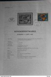 EUROPA - CEPT 1992; 8.5.1992; Legende, Erläuterungsblatt