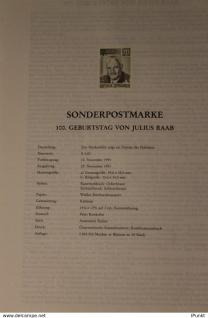 Schwarzzdruck auf Schwarzdruckblatt Österreich 1991 zur Ausgabe: 100.Geburtstag Julius Raab