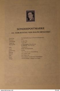 Österreich Amtl. Schwarzdruck auf Schwarzdruckblatt 1984 zur Ausgabe 100. Geburtstag des Komponisten Ralph Benatzky
