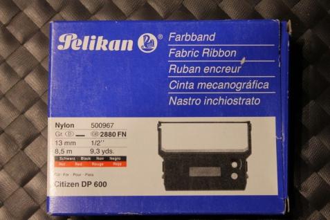 Farbband für Citizen DP 600; Nylon, schwarz/ rot