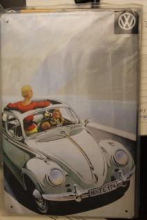 """Werbeschild, Blechschild, Reklameschild; """" VW"""", Volkswagen, VW-Käfer, Cabrio"""