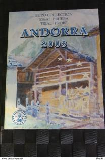 Andorra Kursmünzensatz 2003; EURO Pattern Set; Prueba, Probemünzen im Folder