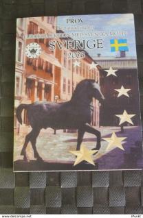 Schweden Kursmünzensatz 2003; EURO Pattern Set; Prov; Probemünzen im Folder