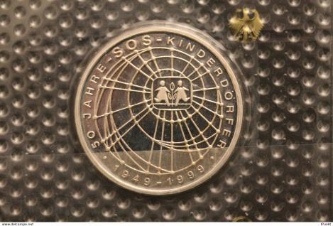 Bundesrepublik Deutschland; 10 Deutsche Mark; 1999; SOS-Kinderdörfer, Silber; PP; Münzstätte G, Jäger-Nr. 472