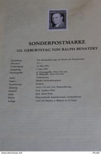 Schwarzzdruck auf Schwarzdruckblatt Österreich 1984 zur Ausgabe: 100. Geburtstag Ralph Benatzky