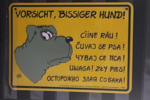 """Uli Stein - Warnschild """"Vorsicht Bissiger Hund!"""""""