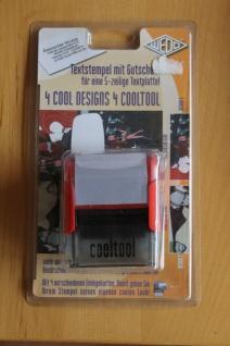 """Textstempel """" Cooltool"""" Stempelautomat; rotes Gehäuse; 5-zeilig, mit Gutschein"""
