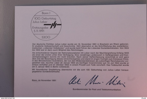 "Ministerkarte zum Ausgabeanlaß "" Julius Leber, 5. Nov. 1991; MiNr. 1574"