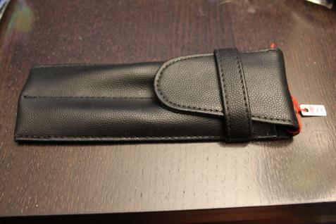 Mäppchen für 2 Schreibgeräte; Etui für 2 Schreibgeräte, abgesteppt, schwarz