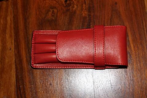 Mäppchen für 3 Schreibgeräte; Etui für 3 Schreibgeräte, Leder, rot