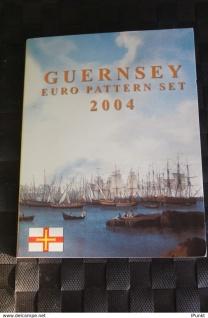 Guernsey Kursmünzensatz 2004; EURO Pattern Set; Probemünzen im Folder