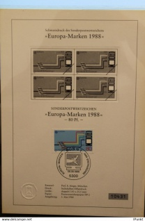 Deutschland, Sonderblatt, Erinnerungsblatt, Gedenkblatt, Schwarzdruck:EUROPA-Marken 1988