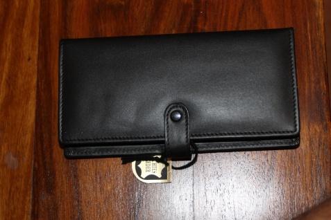 Mäppchen für 3 Schreibgeräte; Etui für 3 Schreibgeräte, Leder, schwarz, Druckknopf