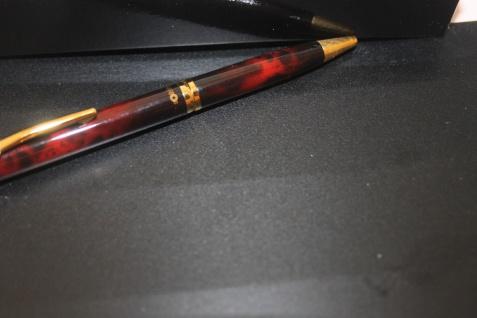 Rotring Retro-Kugelschreiber; Vintage-Kugelschreiber, Knickkuli, rot-meliert