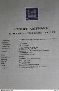 Julius Tandler; Österreich Amtl. Schwarzzdruck auf Schwarzdruckblatt 1986