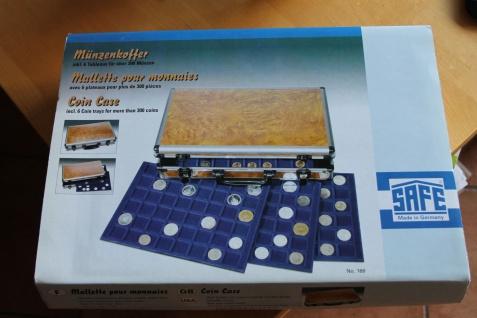Münzen-Koffer; SAFE, Münzkoffer, Münzenkoffer im Wurzelholz-Design; mit 6 Tableaus