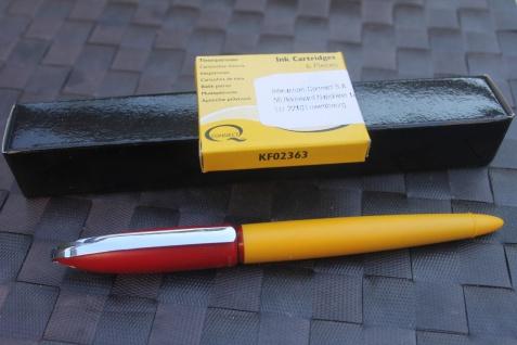 """Rotring Retro-Patronenfüller """" Rivette""""; Patronen-Füllfederhalter, M-Feder, gelb/ rot"""