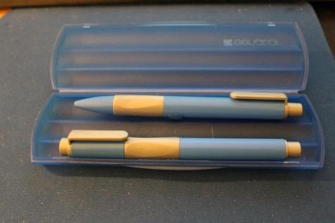 Schreibset Handy Pen; 2teilig, Füller, M-Feder & Kugelschreiber, blau