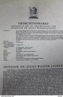 Österreich Amtl. Schwarzzdruck auf Schwarzdruckblatt 1957 zur Ausgabe: Prof. Dr. Julius Wagner-Jauregg