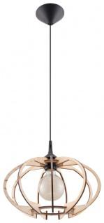 Sollux MANDELINO Holz Lamellen Hängeleuchte natur, schwarz 1-flg. E27