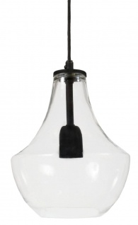 Hochwertige Pendelleuchte aus Glas klar schwarz PR Home Hamilton 20x29cm E27 dimmbar