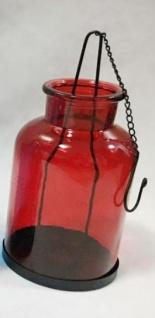Deko Hängewindlicht aus Glas mit Metallkette 11x23cm für Teelichter