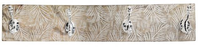 bhp Wandgarderobe aus Holz natur mint mit 4 Metallhaken, Front geschnitzt