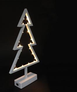 LED Tanne, 20 LED, Kunststoff, weiss, auf Ständer, batteriebetrieben Höhe 400mm