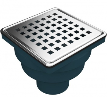MERT Bodenablauf für ebenerdige Dusche Edelstahlrost Square senkrechter Ablauf 100 x 100 mm DU-3000-50-1A