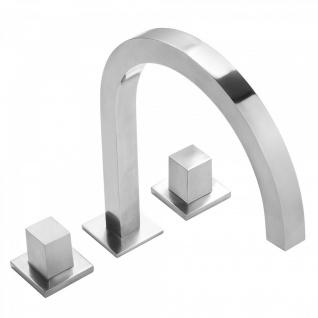 Tres Cuadro-Tres Waschtisch 3-Loch Zweigriff Standarmatur chrom mit hohem quadratischen Rohrauslauf 008.105.02.CR
