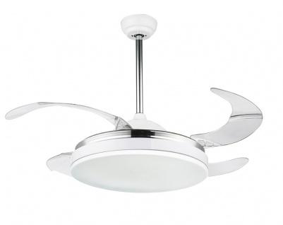 Globo CABRERA LED-Ventilator Metall weiss, chrom, Acryl opal, klar