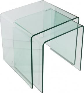 bhp Beistelltisch aus Glas 2er Set 42x42x42cm 10mm Klarglas