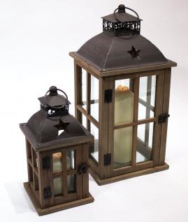 Laterne aus Holz braun mit Sterndesign u. Metalldach 2er Set 46, 5cm u. 30cm