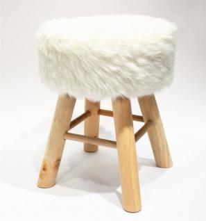 Hocker Holz mit Langhaar- Kunstfellbezug weiß runde Sitzfläche DH: 30x42cm