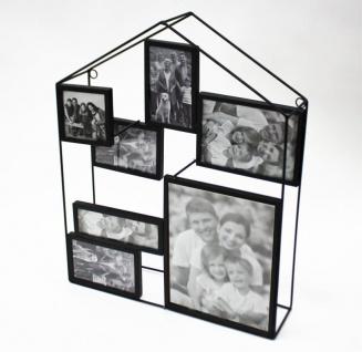Bilderrahmen 3D Haus Optik für 6 Bilder Metall schwarz LBH:41x9x51cm