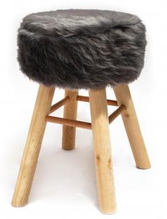 Barhocker Holz mit Kurzhaar- Kunstfellbezug grau runde Sitzfläche DH: 33x70cm