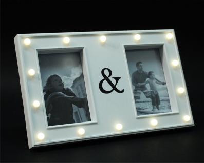 Bilderrahmen weiß Kunststoff mit 14er LED Beleuchtung 21x33, 5x3cm für 2 Fotos 10x15cm