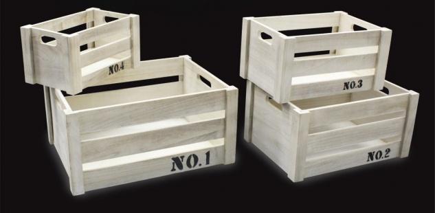 Holzkisten 4er Set rechteckig Aufdruck No. 41x31x20cm 26x16x14cm