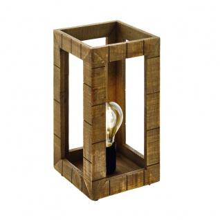 EGLO TAKHIRA Urige Tischleuchte Holz braun E27 17x34cm mit Kabelschalter