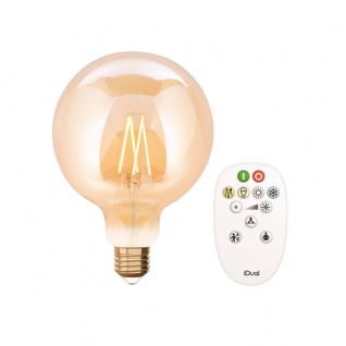 Lutec LED Filament Leuchtmittel Amber E27 806lm 2200-5500K 14x15x16cm mit Fernbedienung