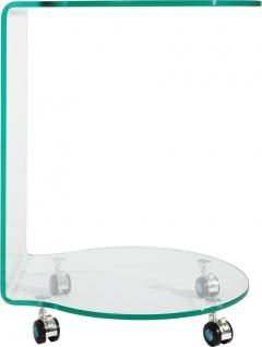 bhp Beistelltisch , klar, mit Rollen Glasstärke: 10 mm, formgebogen