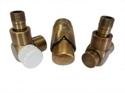 Schlösser Edelarmaturen Set Eckform 1/2 für Stahlrohr, antik Messing