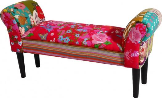 bhp Sitzbank, Stoff bezogen, Patchwork, dunkle Holzfüße, Sitzbreite: 82cm, Sitzhöhe: 36cm