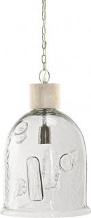 Glas Pendelleuchte klar mit hellem Holz PR Home Skylar 28x43cm E27