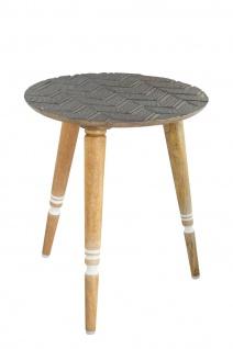 bhp Beistelltisch aus Holz, Rund mit geschnitzter Tischplatte Grau