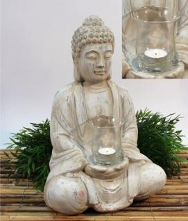 Buddha Terrakotta mit Teelichtglas, creme gebürstet, 19x25x40 cm