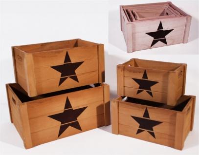 Holzkisten grau-braun 4er Set rechteckig Aufdruck Stern 41x31x20cm 26x16x14cm
