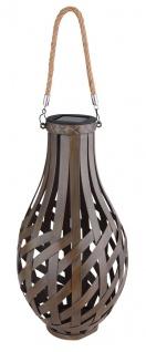LED Solarlaterne aus Metall in Bambusoptik braun zum Hängen und Stellen H: 39cm von Globo - Vorschau