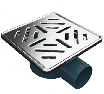 MERT Bodenablauf für ebenerdige Dusche mit modernen Edelstahlrost Stripes 150 x 150 mm