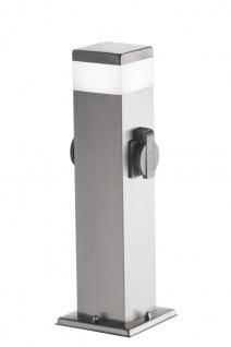 Wofi LED Sockelleuchte mit Steckdose TARA edelstahl geb.